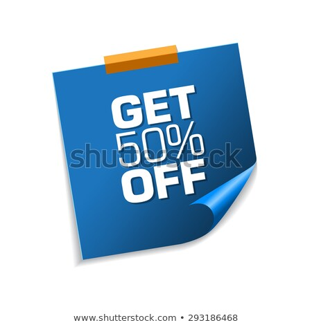 get 50 percent blue sticky notes vector icon design stock photo © rizwanali3d