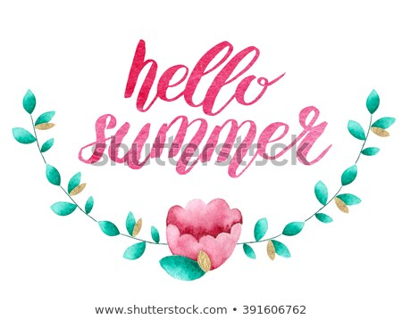 watercolor floral card with message hello summer stock photo © balasoiu