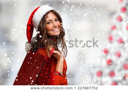 Kadın alışveriş Noel mutlu yeşil Stok fotoğraf © Flareimage