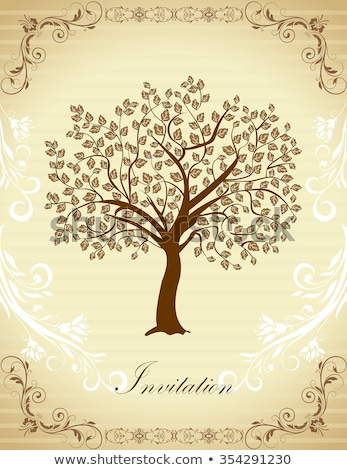 vintage invitation card with elegant retro abstract floral tree stock photo © morphart