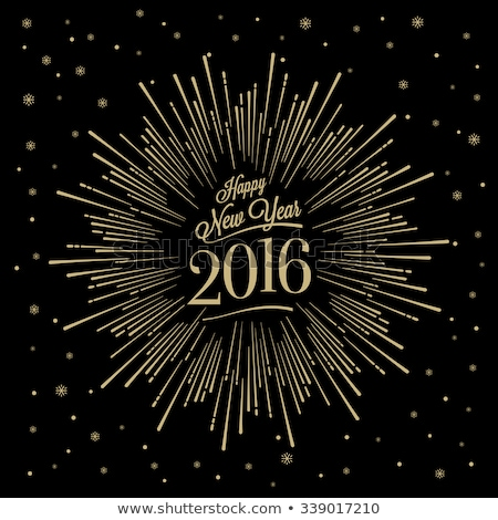 Happy 2016 new year golden card, vector illustration stock photo © carodi