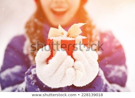 uśmiechnięty · młoda · kobieta · objętych · śniegu · kobieta · twarz - zdjęcia stock © loopall