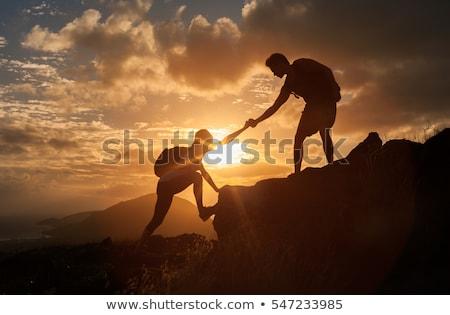 man climber at sunset Stock photo © adrenalina