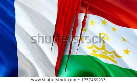 Fransa Tacikistan bayraklar bilmece yalıtılmış beyaz Stok fotoğraf © Istanbul2009