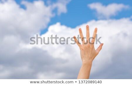 стороны указательный палец пальцы вверх знак Сток-фото © mayboro1964