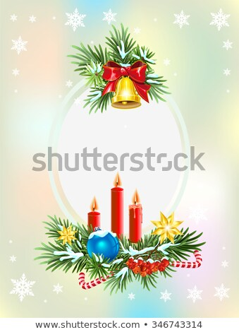 spruce branches with candles candy and golden bell christmas card template foto d'archivio © orensila