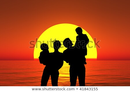 silhouette family with two children stand on sunset beach collag Stock photo © Paha_L