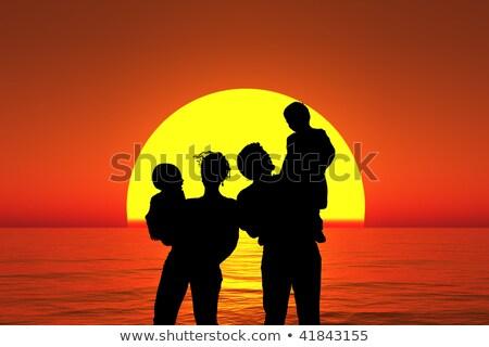 silhueta · família · ao · ar · livre · praia · pôr · do · sol · família · feliz - foto stock © paha_l