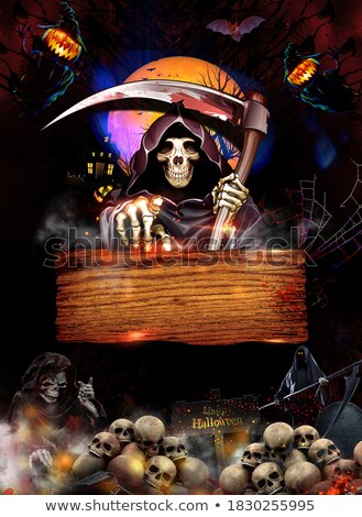 Halloween text with graves and skulls in moonlight Stock photo © anonedsgn