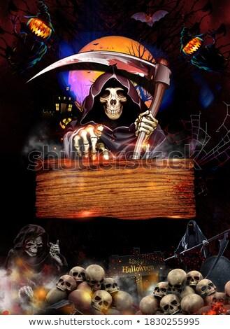 Halloween texto crânios luar árvore festa Foto stock © anonedsgn