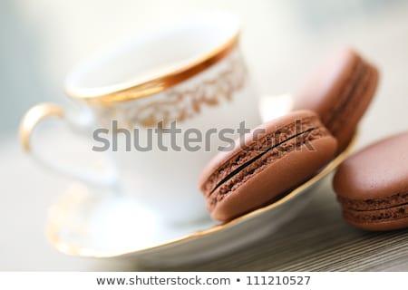 кофе macaron Cookies таблице мужчины рук Сток-фото © stevanovicigor