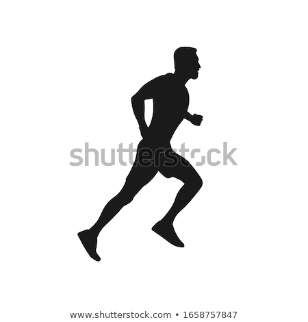 Jogger silhouette blanche fille fond courir Photo stock © Bigalbaloo