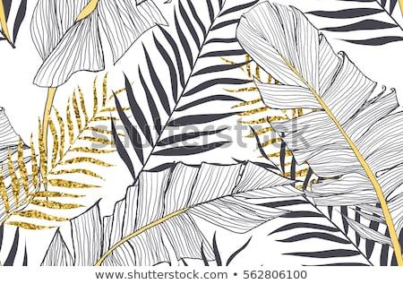 Pálmalevél sziluettek végtelen minta trópusi levelek tengerpart Stock fotó © gladiolus