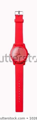 Kırmızı izlemek saat beyaz Metal imzalamak Stok fotoğraf © guillermo
