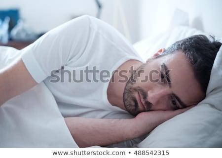 Stok fotoğraf: Endişeli · adam · yatak · odası · erkekler · portre · yatak