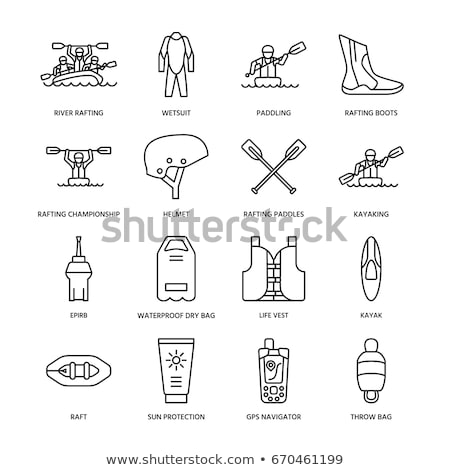Kajak lijn icon hoeken web mobiele Stockfoto © RAStudio