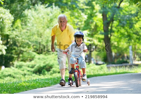 Portrait Happy Grandfather And Boy Grandson With Soccer Ball Stock photo © diego_cervo
