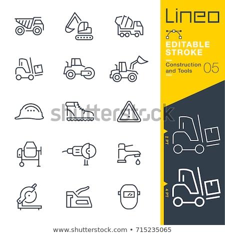 Bulldozer line icona angoli web mobile Foto d'archivio © RAStudio