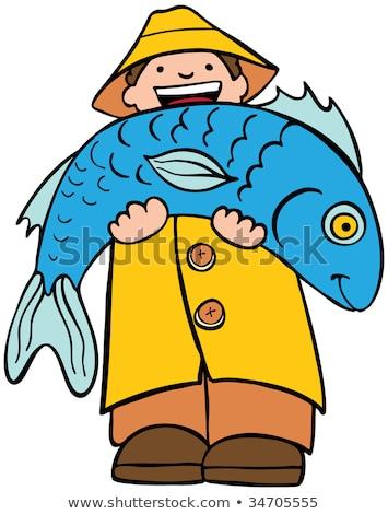 fisherman carrying big fish cartoon vector stock photo © doddis