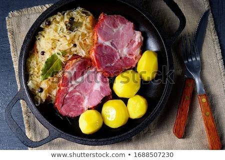 Füstölt disznóhús krumpli hús vacsora étel Stock fotó © Digifoodstock