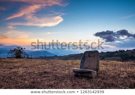 Abandonado concretas silla colina puesta de sol hierba Foto stock © CaptureLight