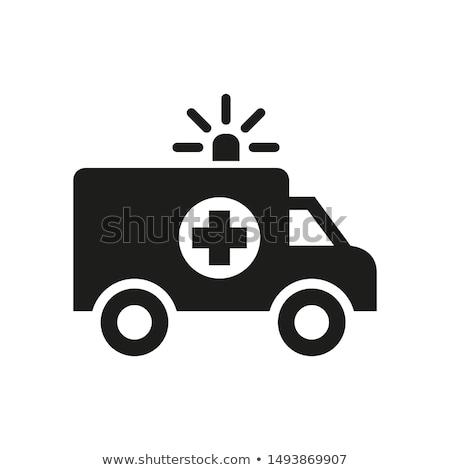 Krankenwagen Illustration weiß Kreuz Krankenhaus läuft Stock foto © bluering