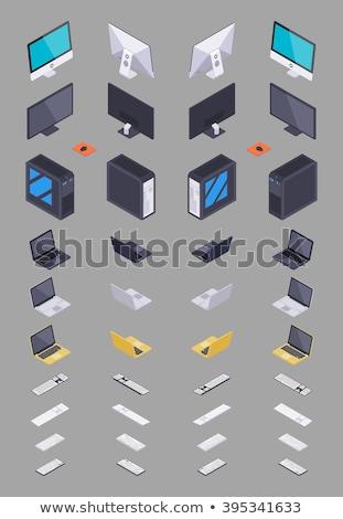 desktop · scena · moderno · tastiera · del · computer · portatile · telefono · bianco - foto d'archivio © neirfy