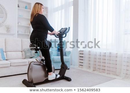 ストックフォト: 太り過ぎ · 女性 · 行使 · 自転車 · 女性 · 健康