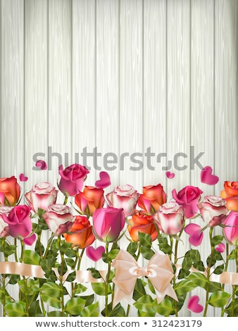 Table with rose petals. EPS 10 Stock photo © beholdereye