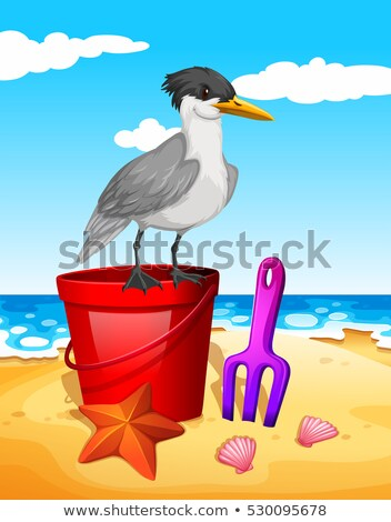 Seagull standing on red bucket Stock photo © bluering