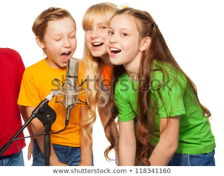 Three kids performing on the stage Stock photo © bluering