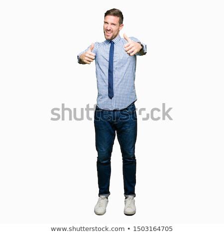 Gelukkig bebaarde man shirt tonen Stockfoto © deandrobot
