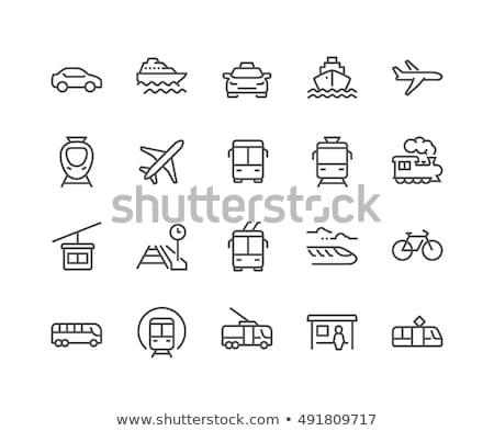 szett · egyszerű · ikon · repülőgép · téglalap · pasztell - stock fotó © Vertyr