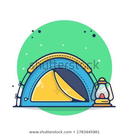Stock fotó: Turista · sátor · ikon · rajz · stílus · citromsárga
