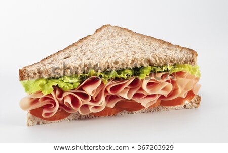Ekmek jambon salata dilimleri beyaz ekmek Stok fotoğraf © Digifoodstock