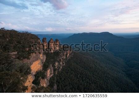 Három hegyek nappal illusztráció tavasz út Stock fotó © bluering