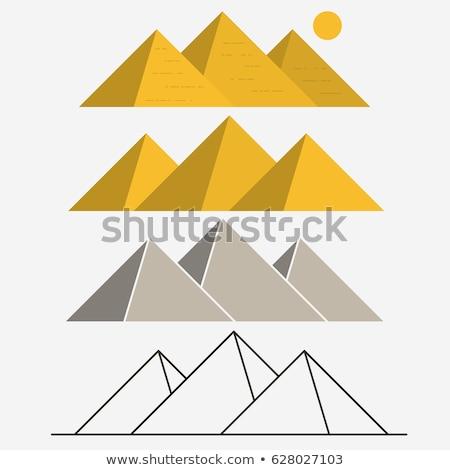 egypt pyramids giza landscape outline vector stock photo © andrei_