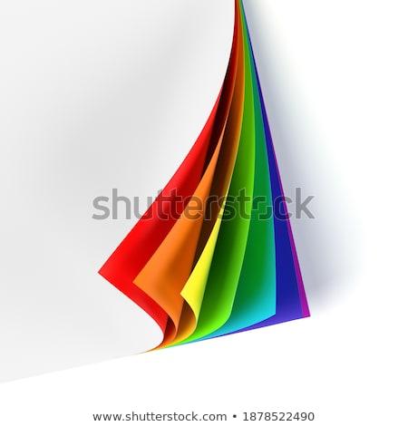 Stockfoto: Gekleurd · gekruld · document · hoek · regenboog · grafisch · ontwerp