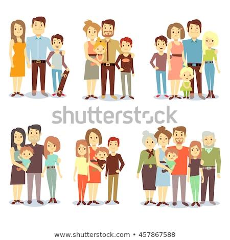 Vecteur style famille parents grands-parents Photo stock © curiosity