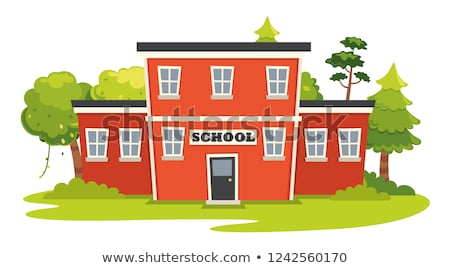 Vector illustration of school building and bus. Stock photo © curiosity