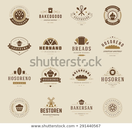 bakery shop emblem labels logo and design elements fresh bread loaf vector illustration stock photo © leo_edition