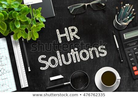 HR Solutions - Text on Black Chalkboard. 3D Rendering. Stock photo © tashatuvango
