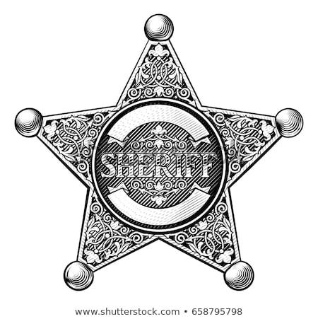 シェリフ · バッジ · デザイン · 銀 · リボン - ストックフォト © krisdog