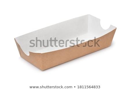 Tálca fehér forró kutyák saláta papír Stock fotó © dla4