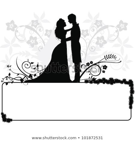 wedding concept bride and groom silhouette stock photo © krisdog