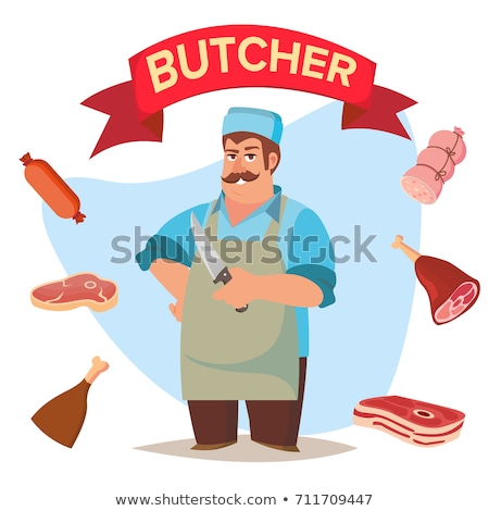professional butcher vector classic butcher man with knife eco farm organic market for storeroom stock photo © pikepicture