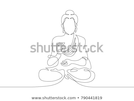 ikon · Buda · siluet · doğrusal · stil · sanat - stok fotoğraf © olena
