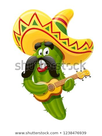 mexican fun cactus in sombrero plays guitar cinco de mayo stock photo © orensila