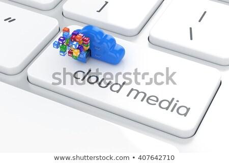 青 · アプリケーション · 開発 · ボタン · キーボード · 現代 - ストックフォト © tashatuvango