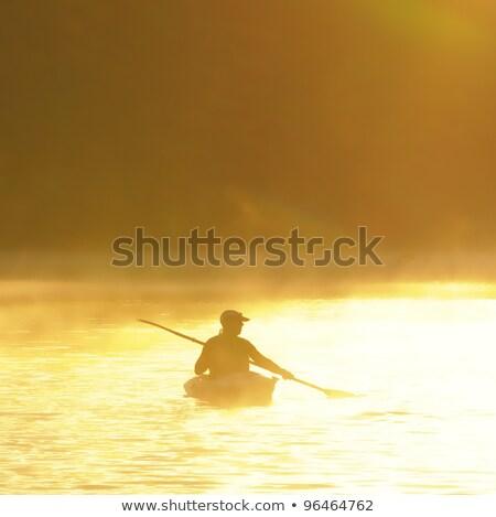 カヤック乗り 午前 霧 男 楽しい エネルギー ストックフォト © IS2